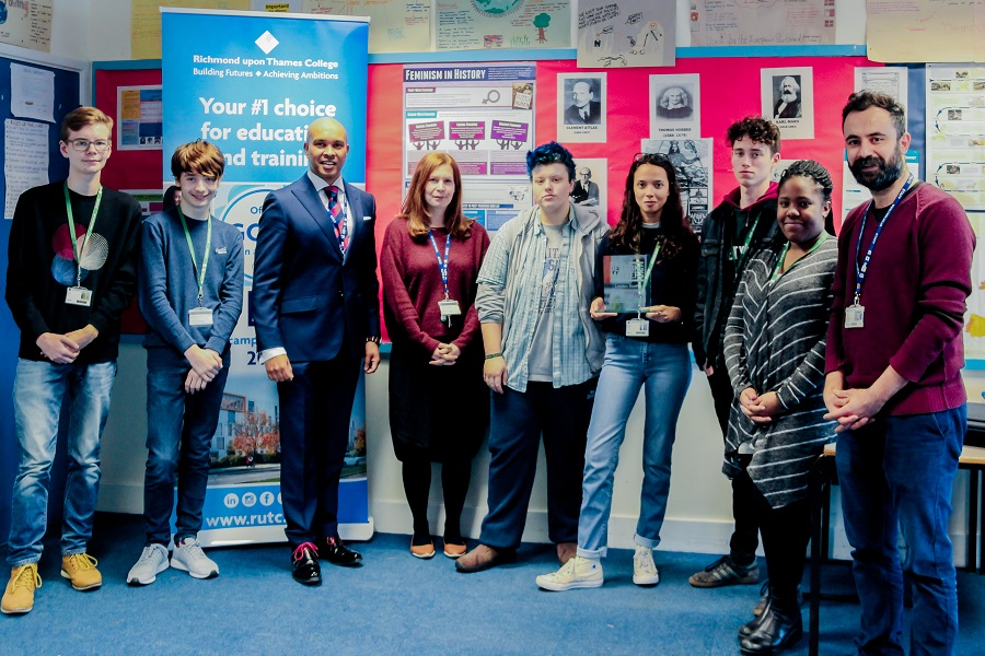Robin Ghurbhurun, Principal and CEO of RuTC (third from left), Helen Upfield, Kasim Agpak with some students from the winning team