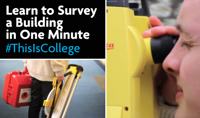 learn to survey a building in one minute with equipment study construction and the built environment at Richmond upon Thames college in london