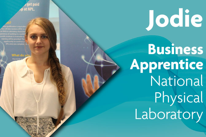 business administration apprenticeship at National Physical Laboratory and Richmond upon Thames College in London jodie