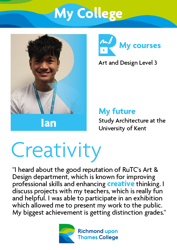 What Our Students Say 2019 Art and Design Ian