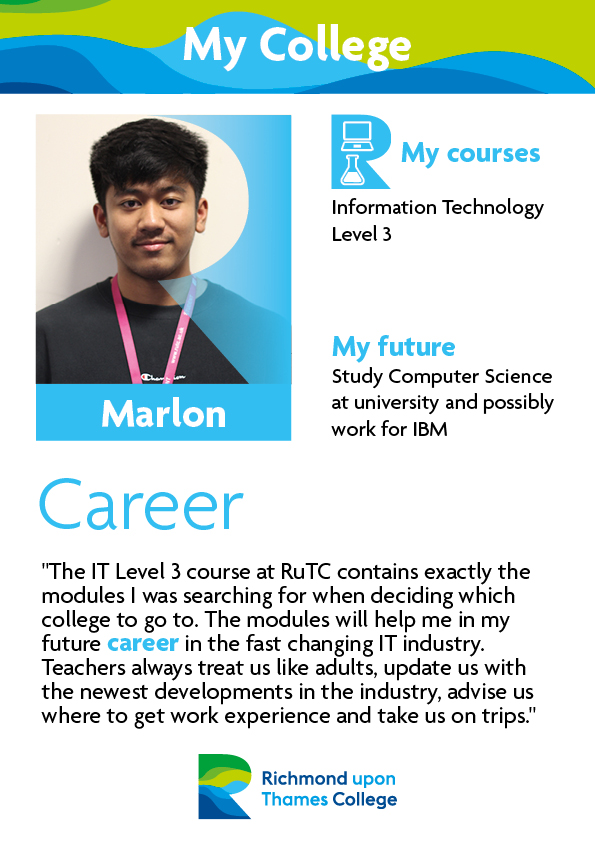 What Our Students Say 2019 Computing Marlon