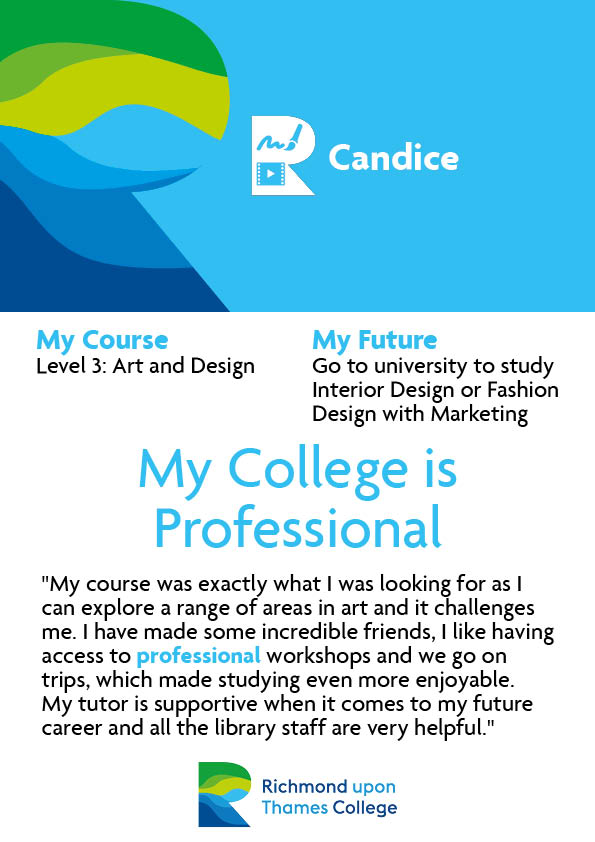 What Our Students Say 2020 Art and Design Candice