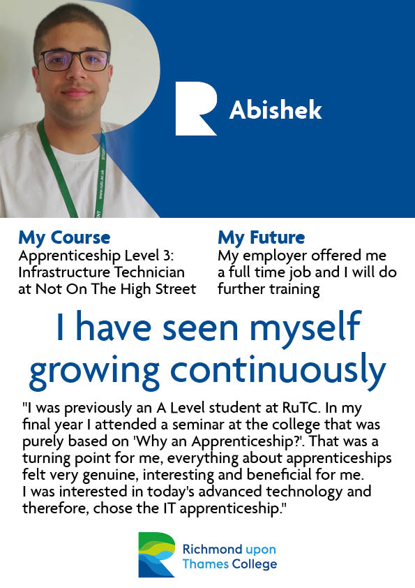 What our Apprentices Say 2021 Computing Abishek