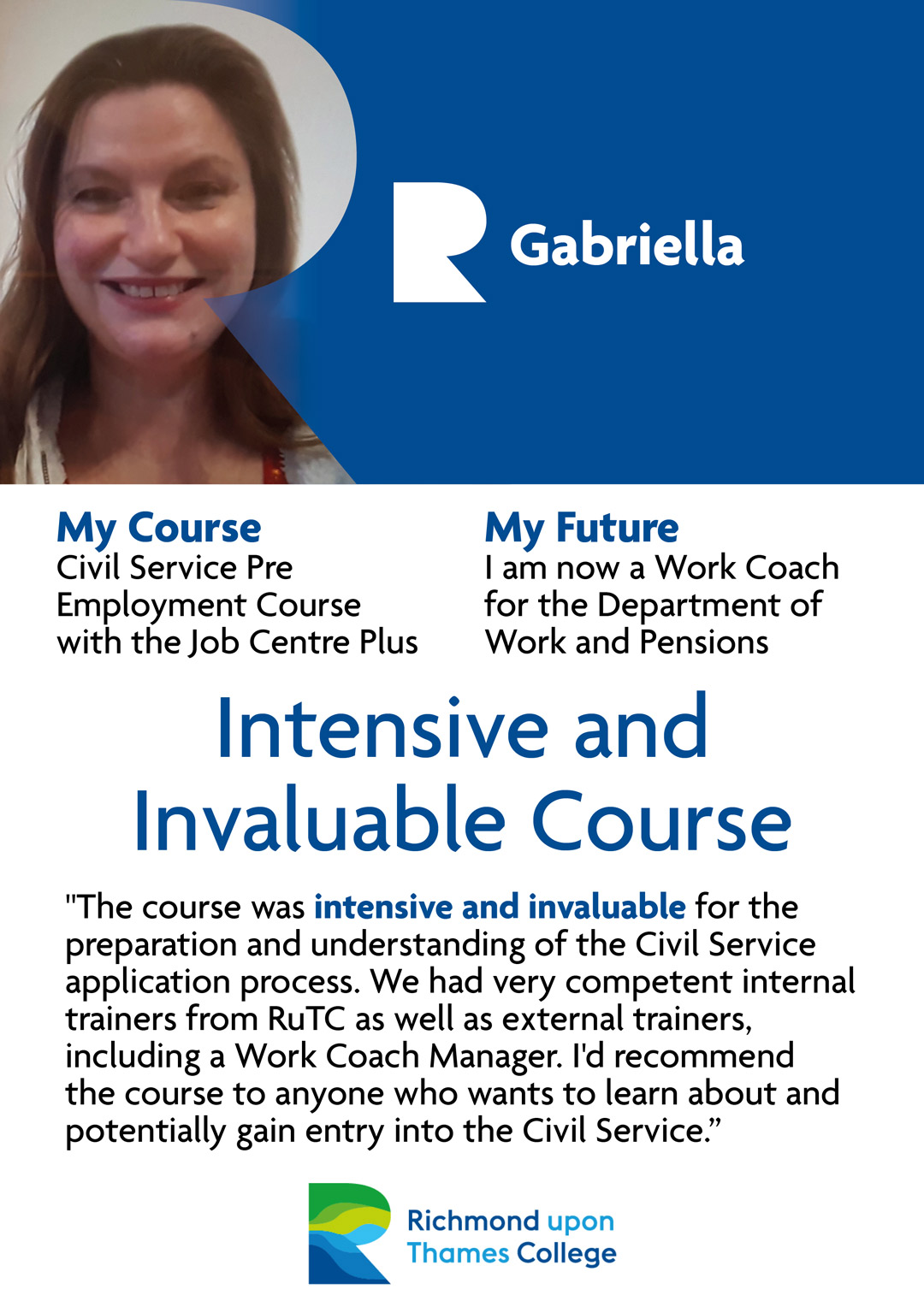 What Our Students Say 2021 Pre-Employment Programmes Gabriella