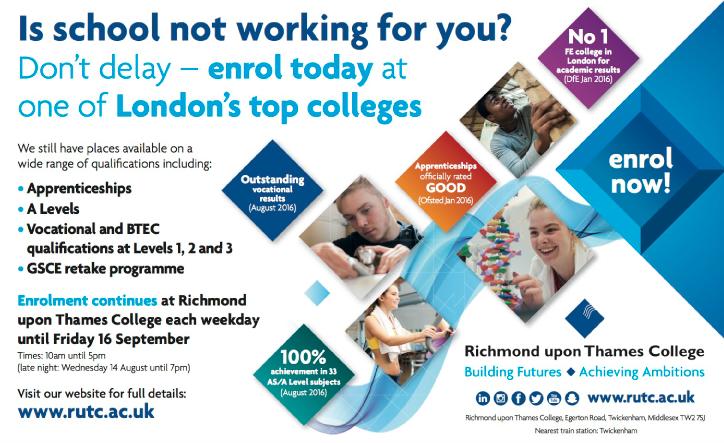 enrolment at richmond upon thames college open now for Apprenticeships and vocational courses and a Levels 1