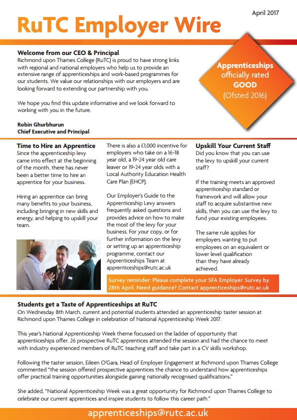 April 2017 edition of RuTC Employer Wire apprenticeships newsletter
