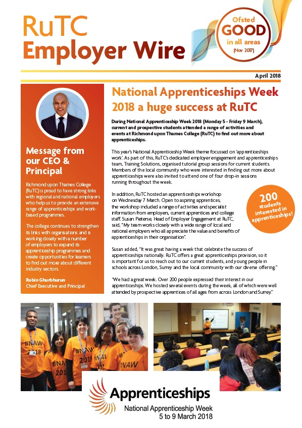 April 2018 edition of RuTC Employer Wire apprenticeships newsletter