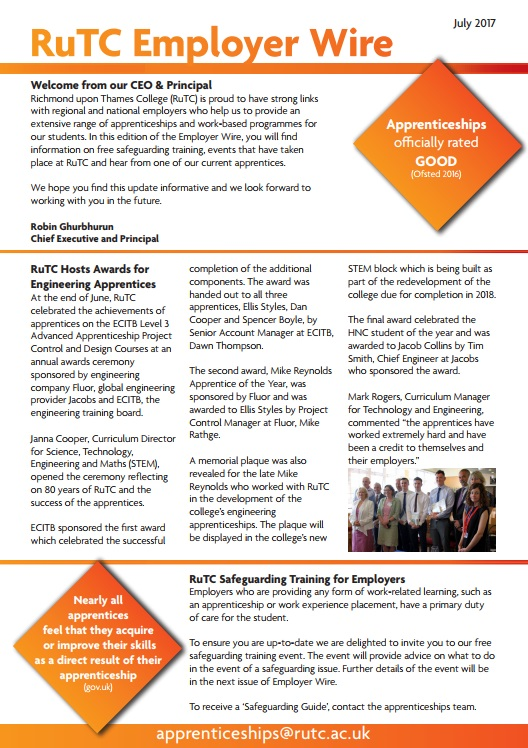 July 2017 edition of RuTC Employer Wire apprenticeships newsletter