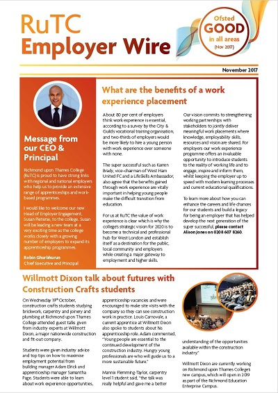 November 2017 edition of RuTC Employer Wire apprenticeships newsletter