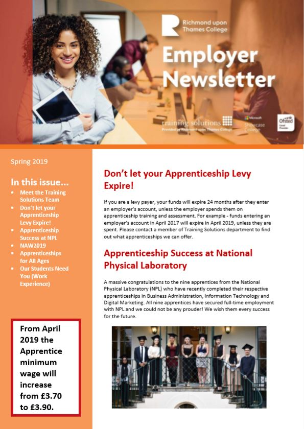 Spring 2019 edition of RuTC Employer Newsletter