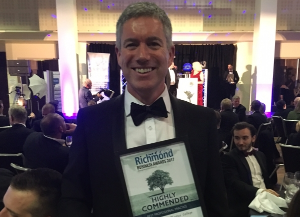 RuTC Deputy Principal John O'Shea at the 2017 Richmond Business Awards where the college was highly commended for Professional Practice