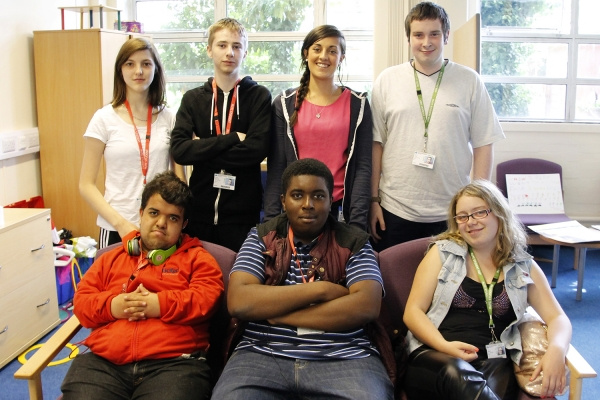 Mencap's Roxanne Potts (back row, third from left) with RuTC's Young Ambassadors.