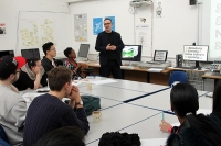 HND graphic design students during a talk from Paul Harpin, Creative Director at Haymarket