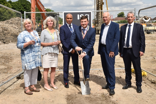 (LR) Barbara Gilgallon, Cathy Bird, Robin Ghurbhurun, Will Whitmore, Sir Vince Cable and Richard White break the first patch of ground during the Breaking Ground Ceremony.