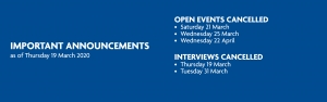 Open Event / Interview Update - Coronavirus (COVID-19)