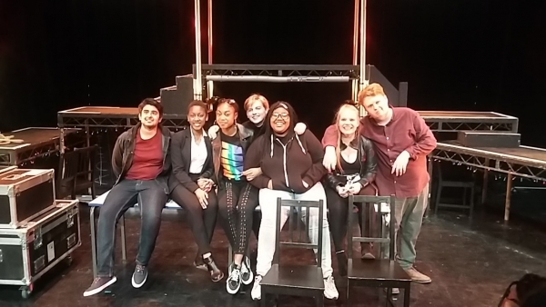 UAL Performing Arts (Acting) Extended Level 3 Diploma students on stage, after their performance of 'Bohemia'