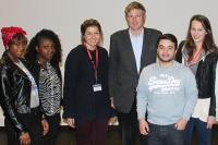 History and Politics student Ife Thompson (left) and her fellow classmates pose with Zac Goldsmith (3rd right).