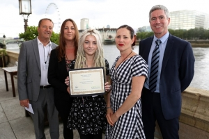 AoC Best Learner Awards at the House of Lords. Names from Left to Right: Graham Spiller (Grandfather), Emily Spiller (Mother), Chloe Catling (Winning Student), Fiona Simpson (RuTC teacher), John O'Shea (RuTC Vice Principal)
